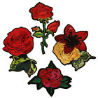 4PCS Rose Flower Patches Embroidered Applique Sequin Beads Patch Badge Sewing