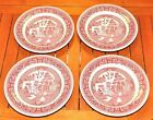 4 Pink Red Willow 10 Plate Vitrified China Restaurant Ware Sterling China USA