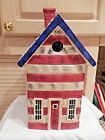 WARREN KIMBLE RED, WHITE, BLUE AMERICAN FLAG COLONIAL HOUSE COOKIE JAR--SAKURA