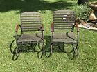 Vintage Pair Art Deco Lawn Patio Garden Tubular Metal Hoop Rocking Chairs C.1930
