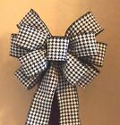 10 Black White Houndstooth Bow Wired Ribbon Wreath Gift Lantern Mailbox Bow