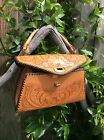 Vintage 1940'- 1950's Hand Tooled Western Leather Hand Bag Clutch Purse Original