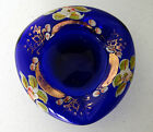 COBALT BLUE BOHEMIAN  ASHTRAY CANDY DISH Painted flowers Gilt