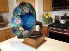 Antique IMPERIAL Columbia Wind Up Phonograph with Amazing Flower Painted Horn
