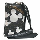 Disney Mickey Mouse Black Silver Lanyard Cell Phone ID Holder Case Coin Badge