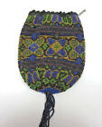 Vintage Antique Beaded Pocket Handbag w/ Metal Straps  FREE SHIPPING