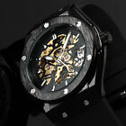 Military Royale Mechanical Automatic Sport Black Case Rubber Band Skeleton Watch