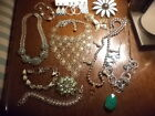 VINTAGE MIXED LOT OF 14 ITEMS UNIQUE NECKLACES BROOCHES BRACELETS EARRINGS