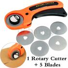 45MM Rotary Cutter Quilters Sewing Quilting Fabric Cut Craft Tool w 5Pcs Blades