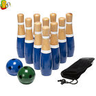Wooden Lawn Bowling Set Outdoor Garden Funny Skills Kids Family Yard Play Games