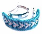 Geometric Aqua and White Triangles Handmade Beaded Ponytail Cuff French Barrette