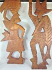 Vintage Carved Fisherman and Woman Hand Carved Rustic Fishing Village