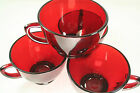 Set of 4 Ruby Red Fire King Anchor Hocking Coffee/Tea Cups