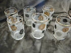 LIBBEY BLACK/GOLD WORLD COINS MID-CENTURY 4 1/2