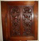 French Antique Carved Wood Panel Gothic Walnut Griffin or Dolphin 2 2