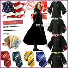 New Harry Potter Cape Cosplay Costume Unisex Gryffindor Robe Cloak Tie LED Wand