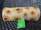 Wired Burlap Printed Sunflower Ribbon Floral Handmade Crafts 55 x 10 Roll