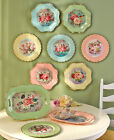 Vintage Inspired Roses Birds Charger Plates Decor Scalloped Retro Serving Trays