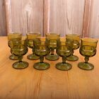 8 Indiana Glass Company Green Kings Crown Thumbprint Wine Goblets Vintage