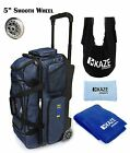KAZE SPORTS DELUXE Denim 3 Ball Bowling Roller Bag Tote Grip Sack Shoe Towel