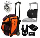 KAZE SPORTS 2 Ball Bowling Roller Bag Smooth Wheels Joey Spare Tote Seesaw Two
