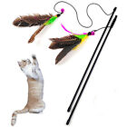 Funny Cat Kitten Pet Bird Feather Teaser Wire Chaser Pet Toy Wand Beads Play