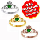 Heart Shape Green Emerald Claddagh Ring in Sterling Sillver Valentine's Day Gift
