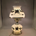 VTG Gone With The Wind Milk Glass Table Lamp Applied Brass Floral Design