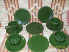 4 -1950's FOREST GREEN FIESTA TEA CUPS , SAUCERS AND 6
