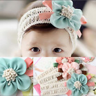 Adorable Stretch Headband with Flower Teal and Pink