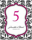 12 Damask Love Birds Personalized Wedding Table Numbers Cards Q17004