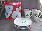 Fitz and Floyd Happy Holidays Boxed Set - 4 Mugs and 4 Plates