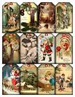 12 Christmas Vintage Art Hang Tags Scrapbooking Paper Crafts 39