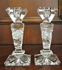Bohemian Czech Vintage Crystal 62 Tall Candle Stick Pair Hand Cut 24 Lead