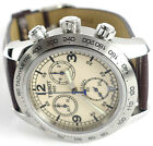 Tissot T36131672 V8 Quartz Chronograph, Men's brown leather Ivory Dial Watch NEW