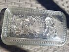 Vtg Clear Oblong Ribbed Glass Refrigerator Dish W/Embossed Fruit Design W/Lid