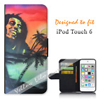 For Apple iPod Touch 6 Wallet Flip Phone Case Cover Bob Marley Y00015