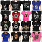 Women Punk Gothic Top T Shirt Casual Tee Summer Sugar Skull Tattoo Black Rock