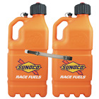 2 Pack Sunoco Racing Orange 5 Gallon Race Utility Jugs with 1 Deluxe Filler Hose