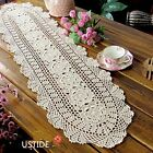 Ustide Floral Hand Crochet Table Runner Doily Beige Lace Table Doilies Cotton