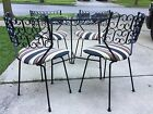 Vintage Mid Century Outdoor Wrought Iron Round Patio Dining Table Set Umanoff