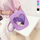 2017 Cute Style Women Transparent Heart Shaped Backpack Travel Hiking Bags