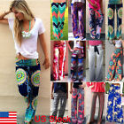 Women Boho High Waist Floral Palazzo Pants Wide Leg Long Trousers Culottes HOT C