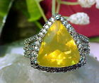 NATURAL MEXICAN YELLOW FACETED FIRE OPAL RING AAA++LARGE 12.7mm TRIL