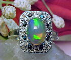 NATURAL ETHIOPIAN CRYSTAL OPAL RING AAA+ 9.3x7.3mm & BLACK SPINEL 925 SS