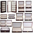 WoodLeather 10 12 20 Slots Watch Box Display Glass Top Jewelry Case Organizer M