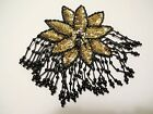 GOLD SEQUIN BLACK BEADS WHITE RINESTONE FLOWER WITH HANGING BEADS APPLIQUE