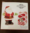 Fitz and Floyd Peppermint Santa Salt & Pepper Shaker Set NIB 2008 Holidays