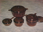 10 Piece Corning Vision Ware Amber Dutch Oven Saucepans Double Boiler