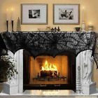 Fireplace Mantle Scarf Black Lace Spiderweb Design Halloween Home Party Decor